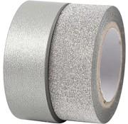 BASTELZUBEHÖR, WERKZEUG UND AUFBEWAHRUNG nastro motivo, W: 15 mm, argento, 2 rotolo