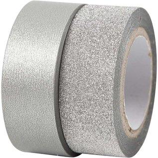 BASTELZUBEHÖR, WERKZEUG UND AUFBEWAHRUNG Motief band, b: 15 mm, zilver, 2 rol