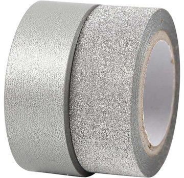 BASTELZUBEHÖR, WERKZEUG UND AUFBEWAHRUNG Motiv tape, W: 15 mm, sølv, 2 roll