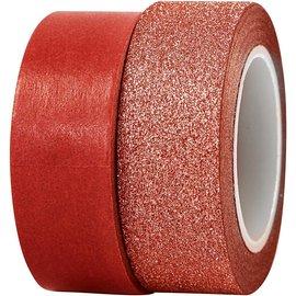 BASTELZUBEHÖR, WERKZEUG UND AUFBEWAHRUNG Decorative tape, W: 15 mm, red, 2 rolls