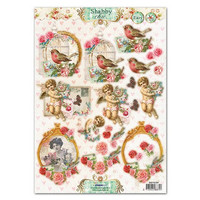 A4 punching sheet, Shabby Chic motifs