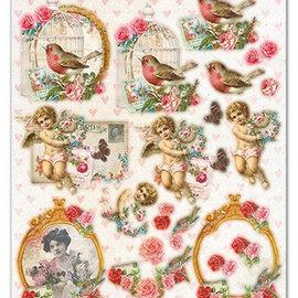 Vintage, Nostalgia und Shabby Shic A4 punching sheet, Shabby Chic motifs