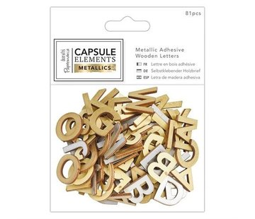 Embellishments / Verzierungen 81 letters in wood with metallic print!