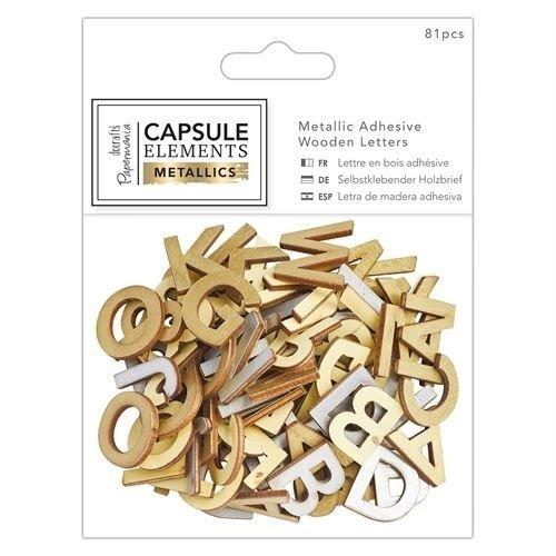Embellishments / Verzierungen 81 Buchstaben in Holz mit Metallic Druck!