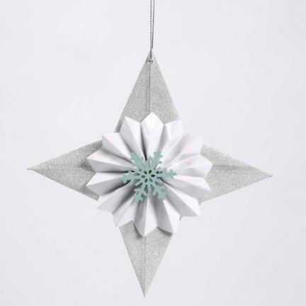 Glitter Star - dekoreret med rose og snefnug