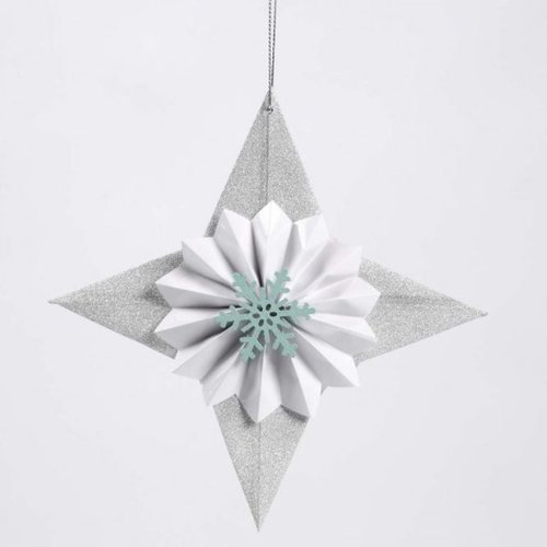 Glittererstern - decorated with rosette and snowflake