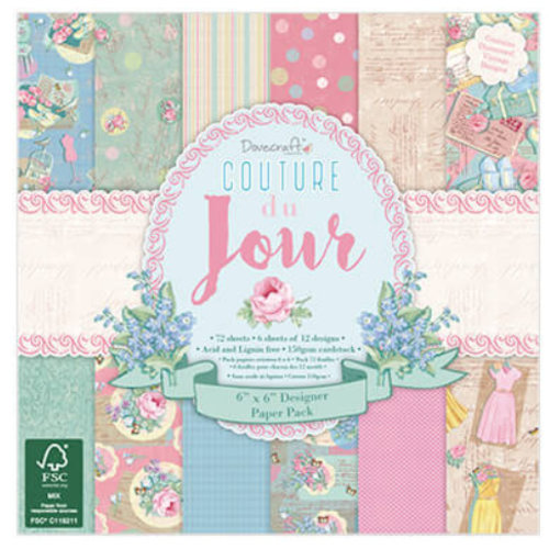 Stempel / Stamp: Transparent Couture Du Jour - Scrapbookingpapier 15,2 x 15,2 cm, 72 platen