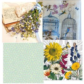 DECOUPAGE AND ACCESSOIRES 4 assorted designer decoupage napkins, vintage
