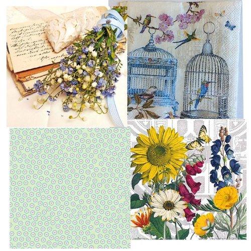 DECOUPAGE AND ACCESSOIRES 4 assorted designer decoupage napkins, vintage