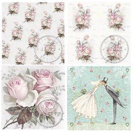 DECOUPAGE AND ACCESSOIRES 4 tovaglioli di decoupage di design in stile vintage rose