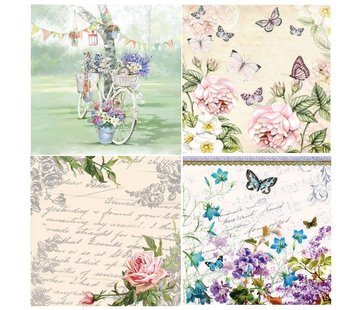 DECOUPAGE AND ACCESSOIRES 4 Assorted Designer Decoupage napkins in vintage design