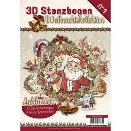 BASTELSETS / CRAFT KITS Stansboek met 24 3D gestanste vellen en 8 achtergrondafbeeldingen !!