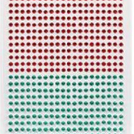 Embellishments / Verzierungen Self-adhesive beads, pebbles, 3 mm, red and green