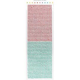 Embellishments / Verzierungen perlas autoadhesivas, piedras, 3 mm, rojo y verde