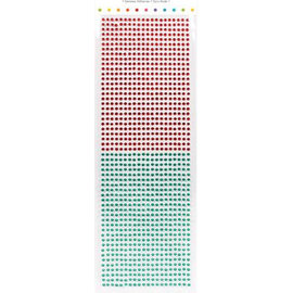 Embellishments / Verzierungen perline autoadesive, pietre, tre millimetri, rosso e verde