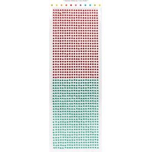 Embellishments / Verzierungen Zelfklevende kralen, stenen, 3 mm, rood en groen