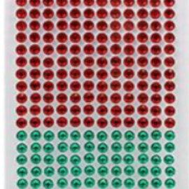 Embellishments / Verzierungen Selbstklebende Perlen, Steinchen, 6 mm, rot und grün