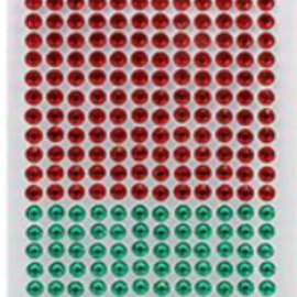 Embellishments / Verzierungen Self-adhesive beads, 6 mm, red and green