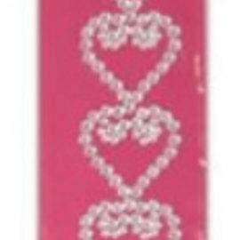 Embellishments / Verzierungen NEU! Selbstklebende Glitzer Steinchen Bordüre mit Herzen