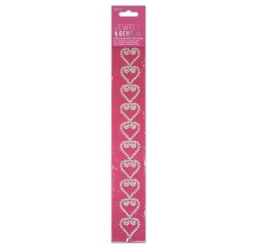 Embellishments / Verzierungen NEW! Self-adhesive glitter pebbles border with hearts