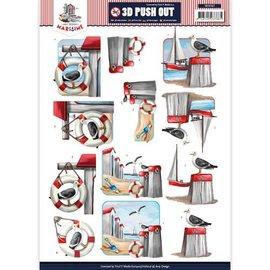 Bilder, 3D Bilder und ausgestanzte Teile usw... 3D Die cut ark, A4: Maritime / Ferie