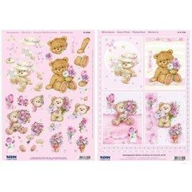 Bilder, 3D Bilder und ausgestanzte Teile usw... A4 Gestanste 3D + 1 achtergrond bladen: Bear met bloemen