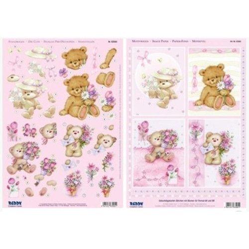 Bilder, 3D Bilder und ausgestanzte Teile usw... A4 punch sheet 3D + 1 background sheet: bear with flowers
