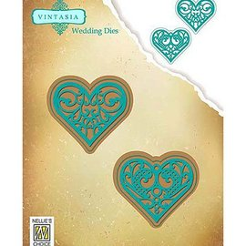 Nellie Snellen Stamping template: 2 hearts