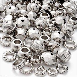 Embellishments / Verzierungen 12 metallisert, sølv-fargede ringer, Ringer, perler