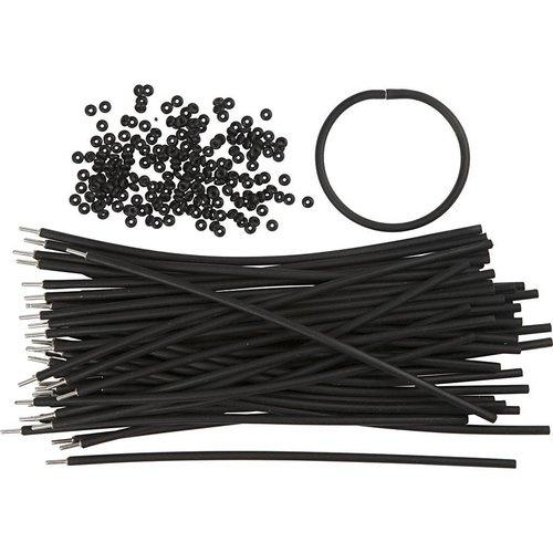 BASTELZUBEHÖR, WERKZEUG UND AUFBEWAHRUNG Bracelet, L: 20 cm, épaisseur: 4 mm, Noir
