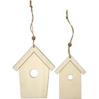Wooden bird, 2 bird houses, H: 13 + 17.5 cm, thickness: 5 mm