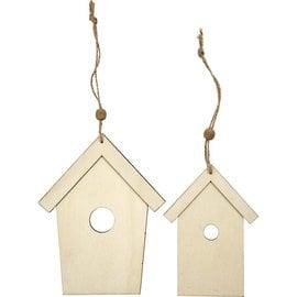 Holz, MDF, Pappe, Objekten zum Dekorieren Wooden bird, 2 bird houses, H: 13 + 17.5 cm, thickness: 5 mm