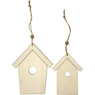 Holz, MDF, Pappe, Objekten zum Dekorieren Holzornament, 2 Vogelhäuser, H: 13+17,5 cm, Stärke: 5 mm