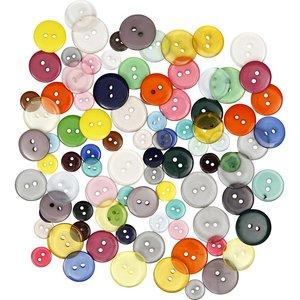 Embellishments / Verzierungen Button Mix assortment, D: 12 + 18 + 20 mm, 20 pieces, assorted colors