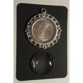 Embellishments / Verzierungen 1 Charm med en glass Cabochon