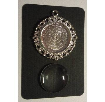 Embellishments / Verzierungen 1 Charm med 1 glas Cabochon