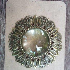 Embellishments / Verzierungen 1 Charm en Vintagelook con 1 cristal Cabouchon