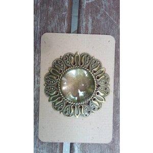 Embellishments / Verzierungen 1 Charm in Vintage Look mit 1 Glas Cabouchon