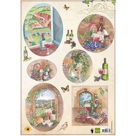 Bilder, 3D Bilder und ausgestanzte Teile usw... hoja A4 de imágenes: Vino y uvas