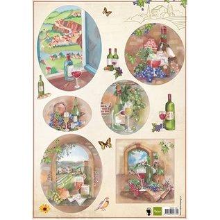 Bilder, 3D Bilder und ausgestanzte Teile usw... A4 Bilderbogen: Wein und Weintrauben