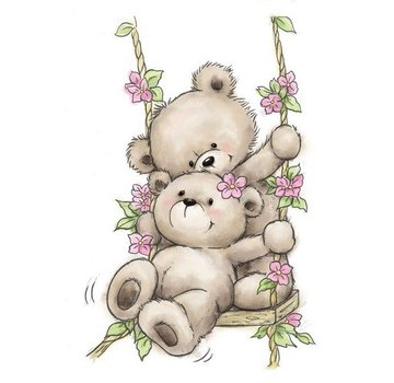 Wild Rose Studio`s A7 clear / Transparent Stempel: Bears on Swing