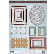 Embellishments / Verzierungen Die-cut photo frame, with silver, 17 parts