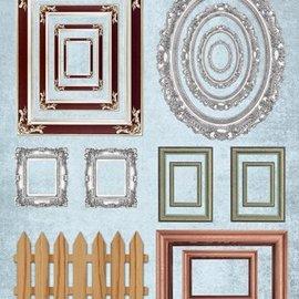 Embellishments / Verzierungen Die cut ark billedrammer, med sølv, 17 dele