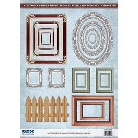Embellishments / Verzierungen Die-cut photo frame, with silver, 17 parts