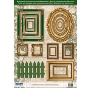 Embellishments / Verzierungen Die cut ark billedrammer, med guld 17 dele