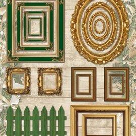 Embellishments / Verzierungen láminas troqueladas marcos de cuadros, con 17 partes de oro