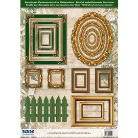 Embellishments / Verzierungen Die cut ark rammer, med gull 17 deler