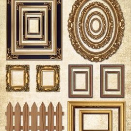 Embellishments / Verzierungen feuilles échenillées cadres pour photos, avec de l'or 17 parties