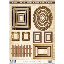 Embellishments / Verzierungen Die-cut photo frame, with gold 17 parts