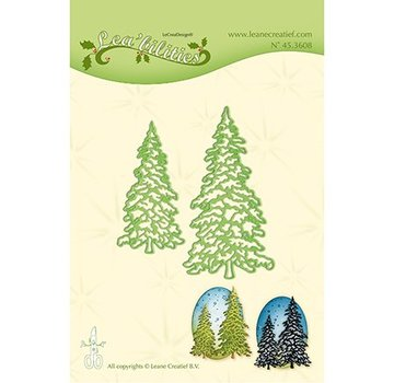 Leane Creatief - Lea'bilities und By Lene Stamping template: 2 fir trees